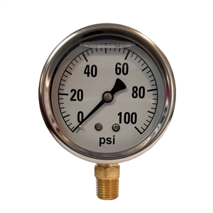 "2-1/2"" Liquid Filled Gauge 0-100 PSI -..."